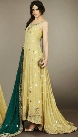New and Latest Bridal Mahndi dresses 2014-15 for girls