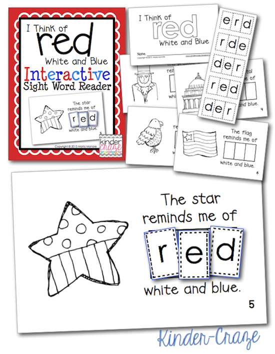 red white and blue emergent reader