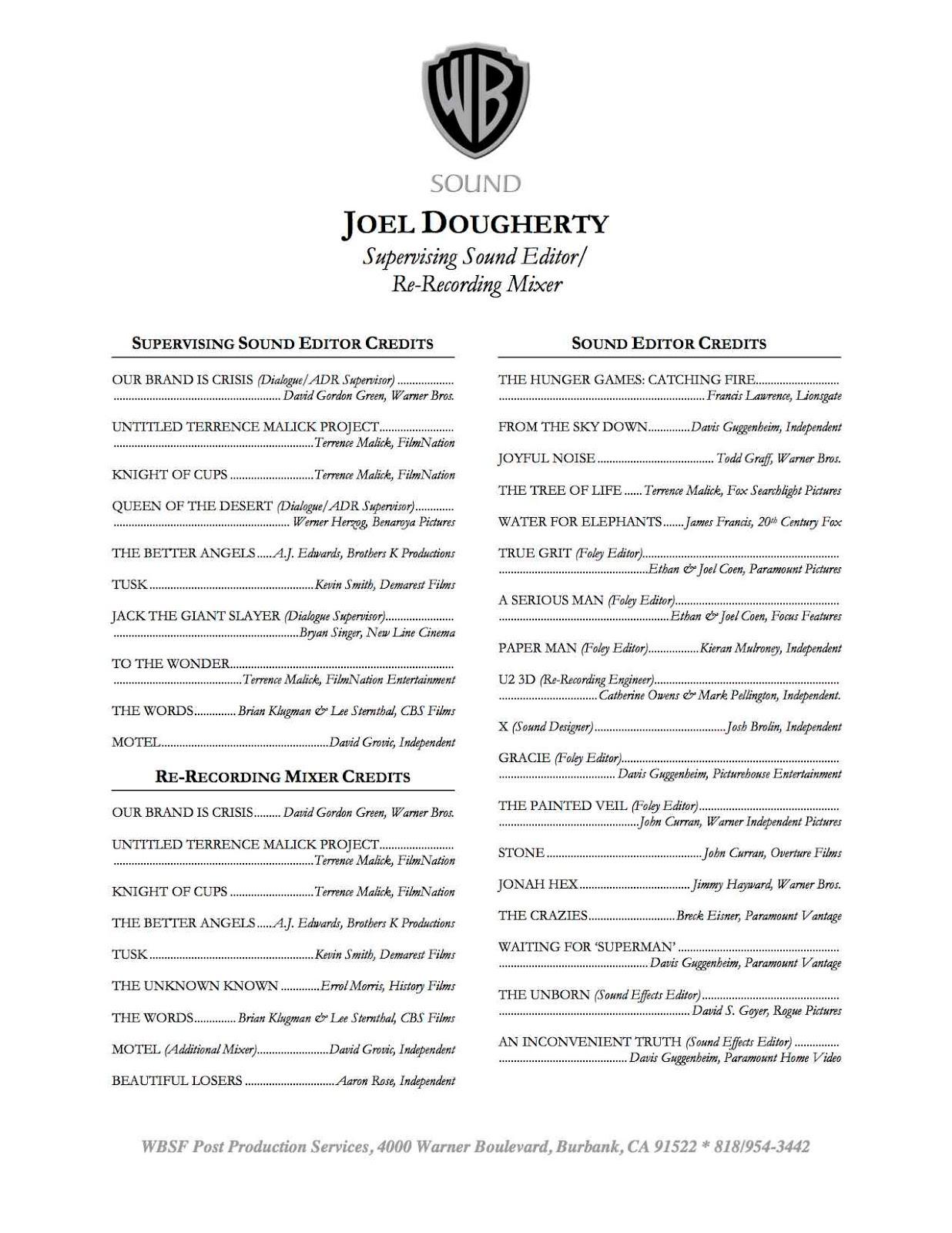 Film editor resume samples