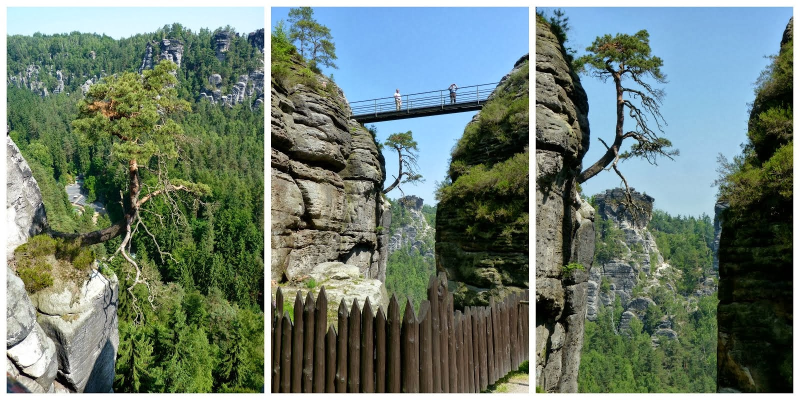 "three views at the ""robber's roost"" in the Saechsische Schweiz, Germany"