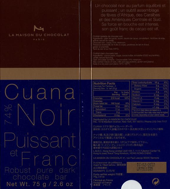 tablette de chocolat noir dégustation la maison du chocolat cuana noir 74