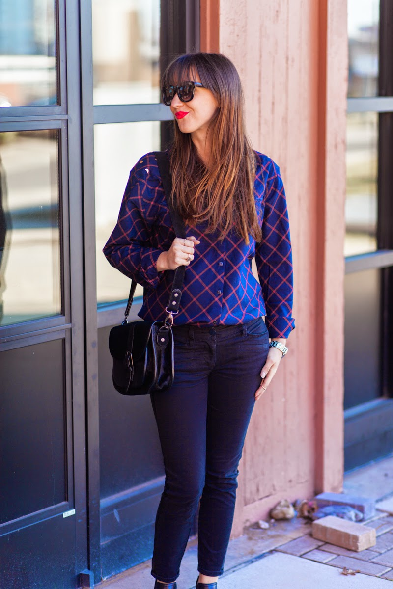 plaid shirt, studded shirt, button down shirt, mason scotch, scotch and soda, red lipstick outfit, trousers with faux leather stripe loft pants, steve madden booties, silver toed booties, long hair with bangs, kate spade watch, nashville blogger, nashville street style, fashion blogger