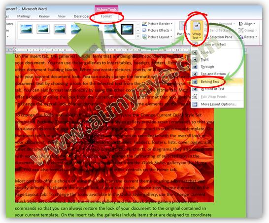 Gambar: Menaruh gambar di belakang teks ketikan Ms Word 2010