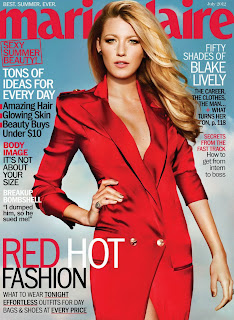 Blake Lively is red hot as she graces the cover of Marie Claire magazine July 2012 issue