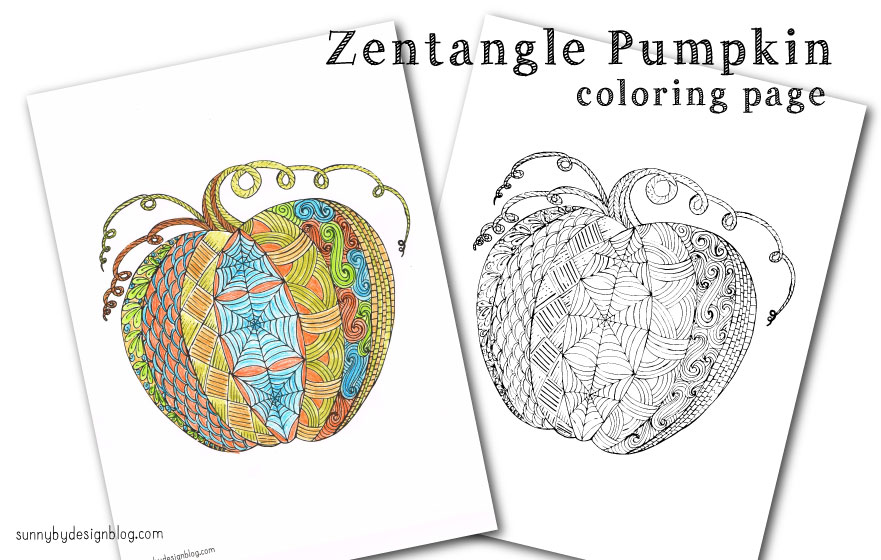 Sunny By Design Zentangle Pumpkin Coloring Page