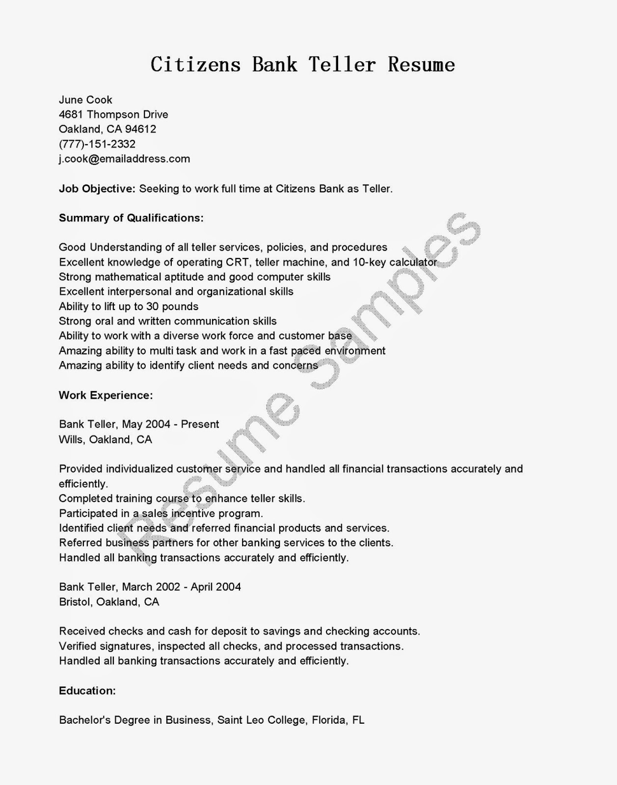teller - Resume Templates For Bank Teller