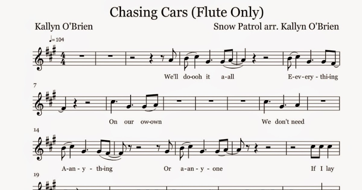 Flute Sheet Music: Chasing Cars - Sheet Music