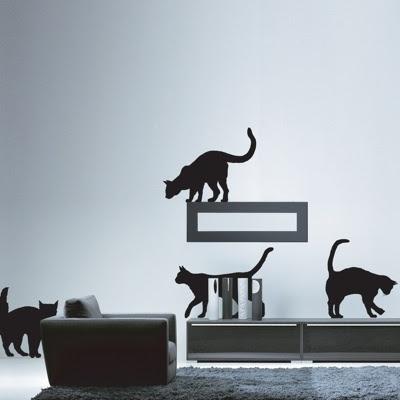 kedi+motifli+duvar+sticker+modeli Evinize Duvar Sticker Modelleriyle Renk Katın