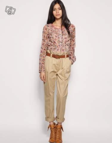 pantalon look Jour Pantalon Femme Quoi Chino Beige tendance Du Avec xwZHI