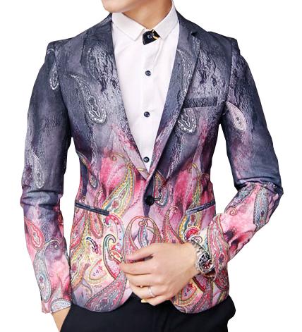 Mens Paisley New Blazer Grey Purple Gradient
