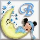 Alfabeto de Mickey Bebé durmiendo en la luna B.