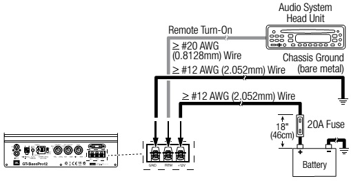 jbl gt basspro12 powered car subwoofer wiring diagram circuit remote turn on connection when using the line level input connections the gt basspro12 requires a 5v to 12v dc signal at the remote rem connector to