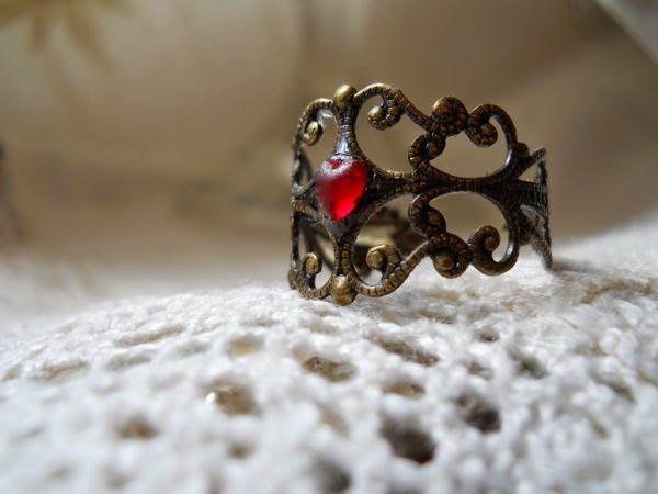 Brass FIligree Ring w/ Ruby Red Heart