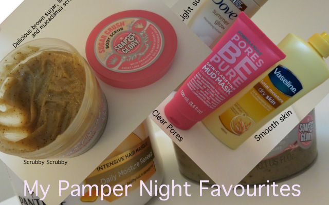pamper night favourites/essentials, girls night in, soap and glory body scrub, vaseline body moisturiser, face mask, hair mask