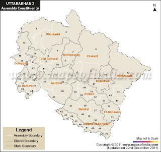 2012 Uttarakhand Assembly ElectionsUttarakhand Map 2012