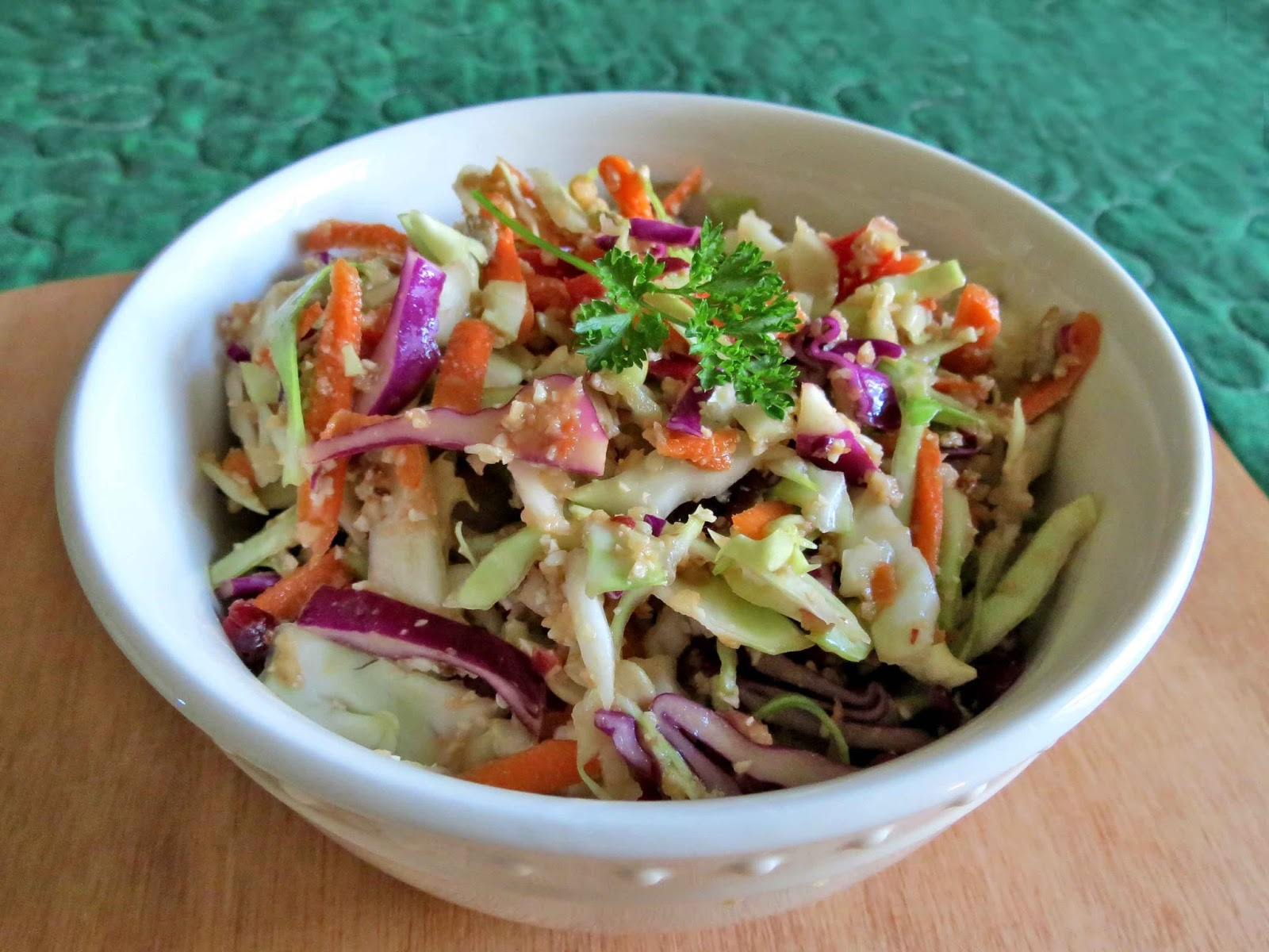 vegan cabbage, apple and cashew slaw