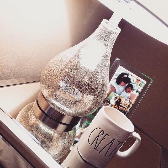 Mirrored side table, Lamp, TJ Maxx Lamp, Create Coffee Mug, Glass Picture Frame, HomeGoods Happy