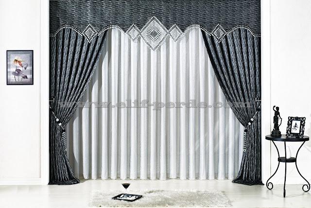 Gümüş Siyah Boncuklu Fon Perde Modeli