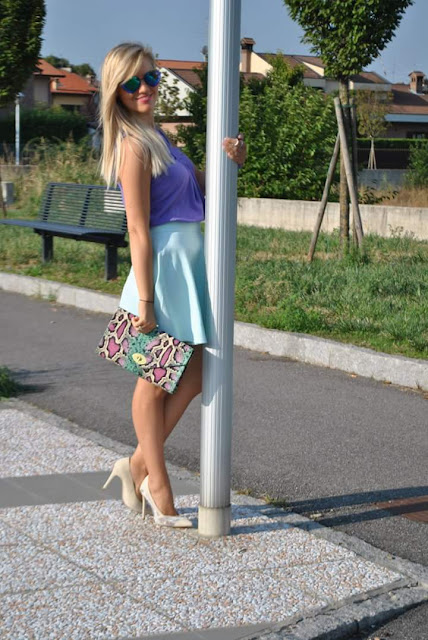 outfit colori pastello come abbinare i colori pastello outfit gonna a ruota abbinamenti gonnaa ruota come abbinare la gonna a ruota top marella danilo di lea scarpe danilo di lea majique london oceanic jewellers outfit agosto mariafelicia magno fashion blogger color block by felym fashion blog italiani fashion blogger italiane ragazze bionde summer outfits  pastel colors outfit how to wear pastel colors