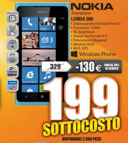 Miglior prezzo attuale per il Lumia 900 smartphone windows phone 7,8