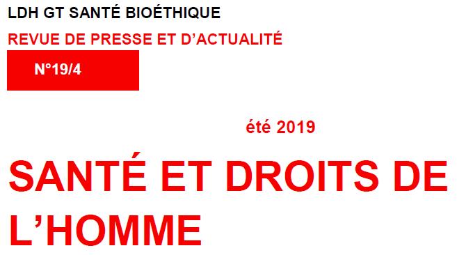 """Lire le bulletin du groupe de travail """"Santé Bioéthique"""" de la LDH"""