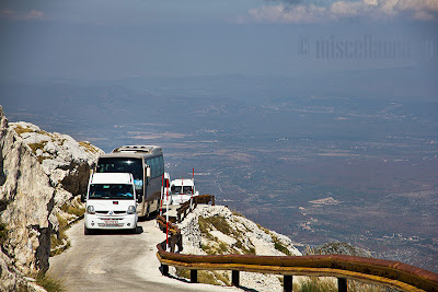 Buses on mountain roads
