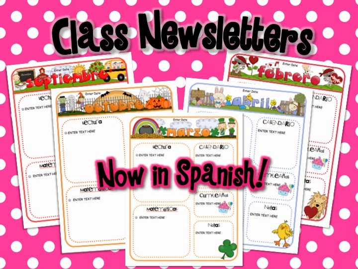 http://www.teacherspayteachers.com/Product/Spanish-Monthly-Newsletter-Templates-1117303