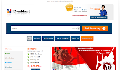 Website Penyedia domain dan web hosting Idwebhost