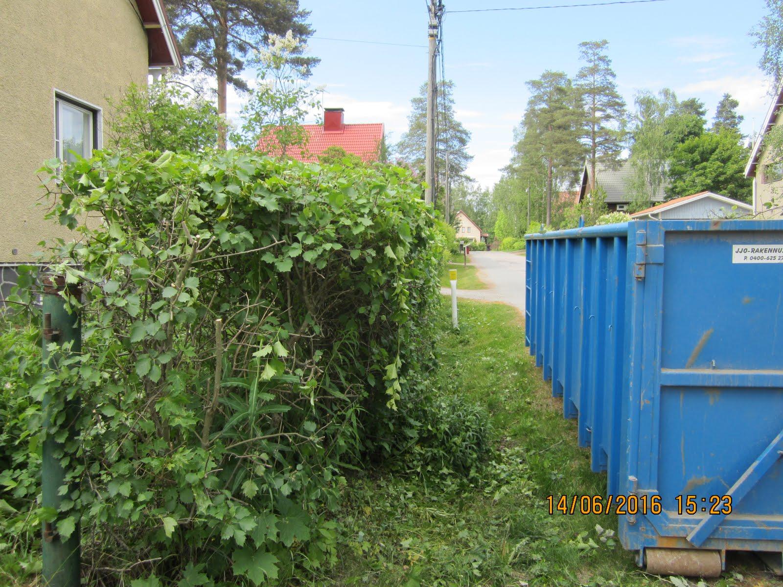Pihatyöt Kangasala Tampere Pirkanmaa siirtolava tilauksesta paikalle pihajätteitä varten kun aika