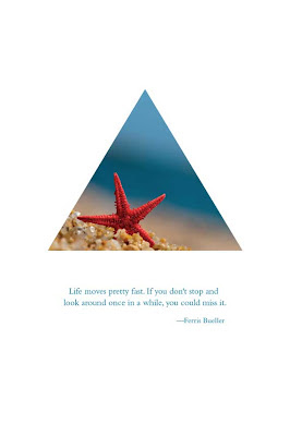 triangle with starfish on beach text life moves pretty fast