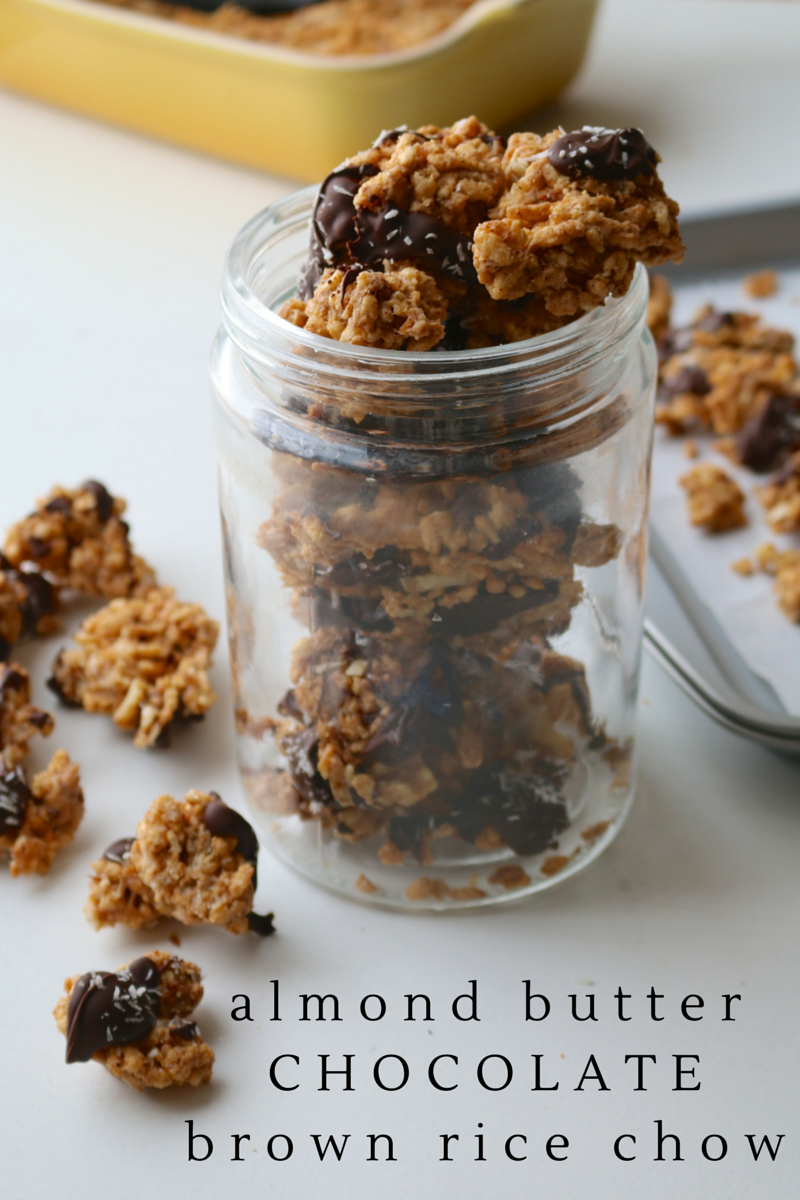 Almond Butter Chocolate Brown Rice Chow: This simple & fun snack is a cross between puppy chow & puffed rice treats. If you like the sweet/savory combination, this treat is made for you!