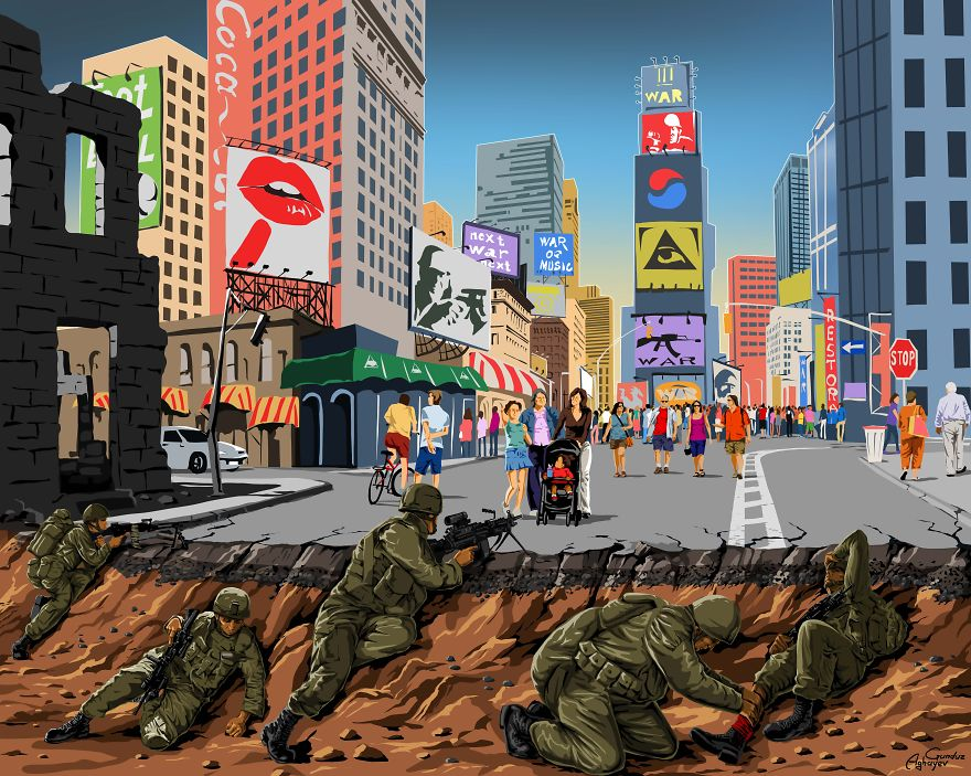 Powerful Satirical Illustrations Show What War Really Looks Like