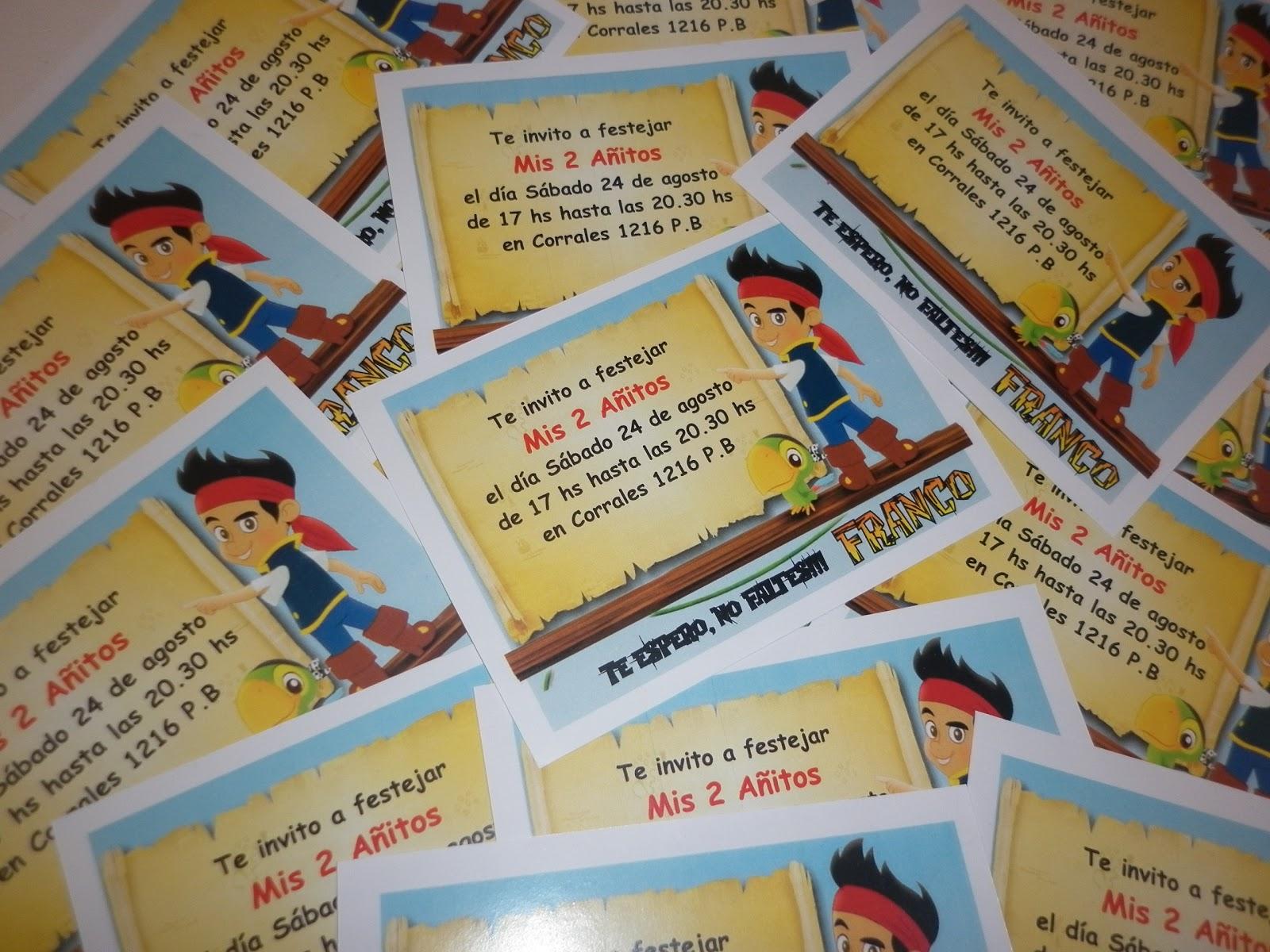 Deco, arte y juegos: Tarjetas de invitación de Jake y los piratas