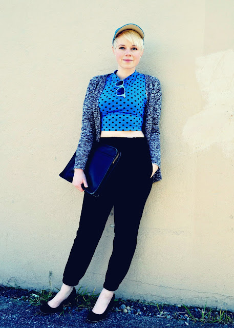 crop top, polka dots, baseball cap, how to, seattle, street style, vintage coach, fleur d'elise, in style