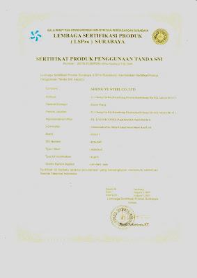 Surat Sertifikasi Standart Produk