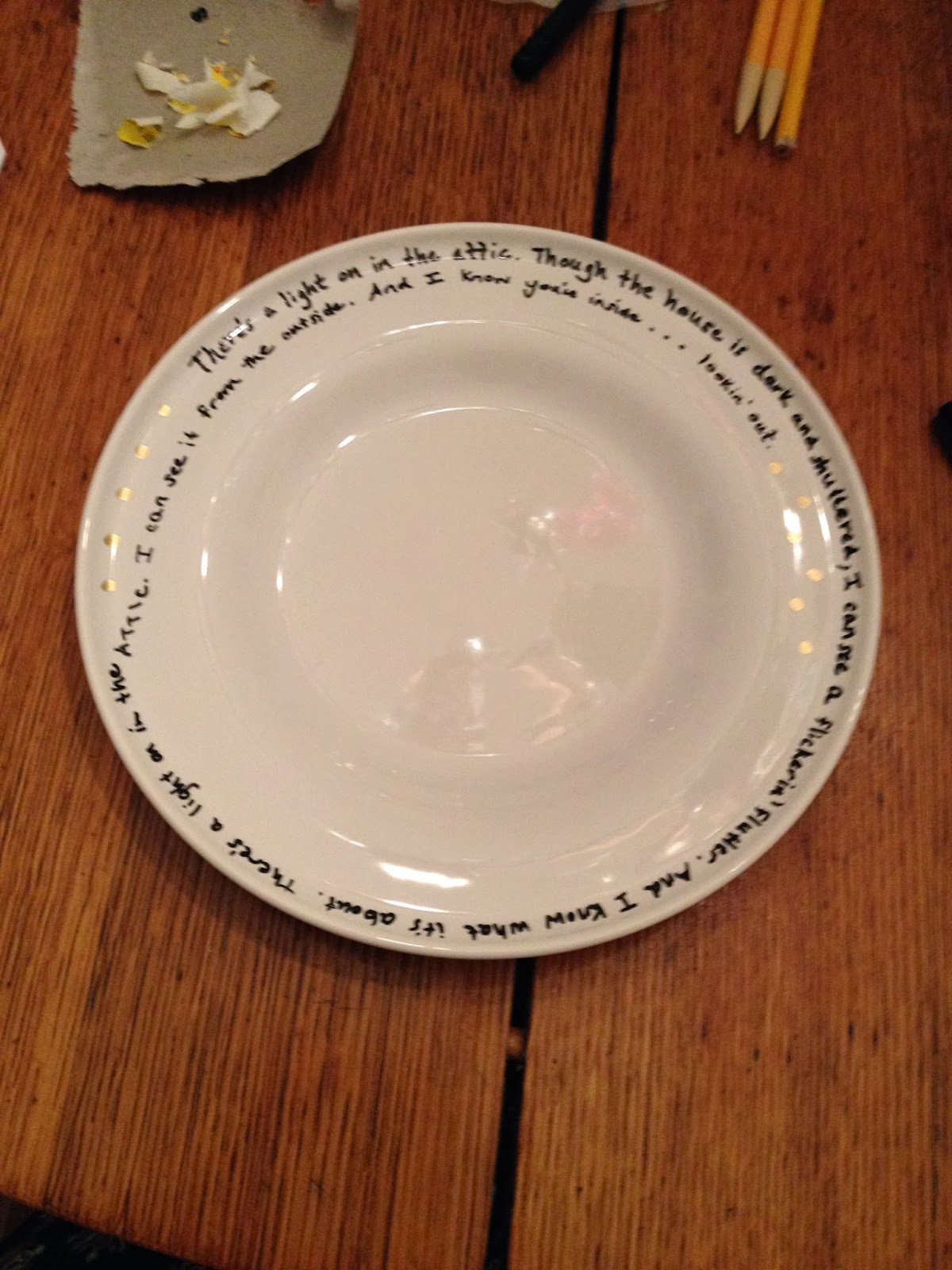 The owl 39 s skull diy poetry plates meaningful gifts for for Plain white plates ikea