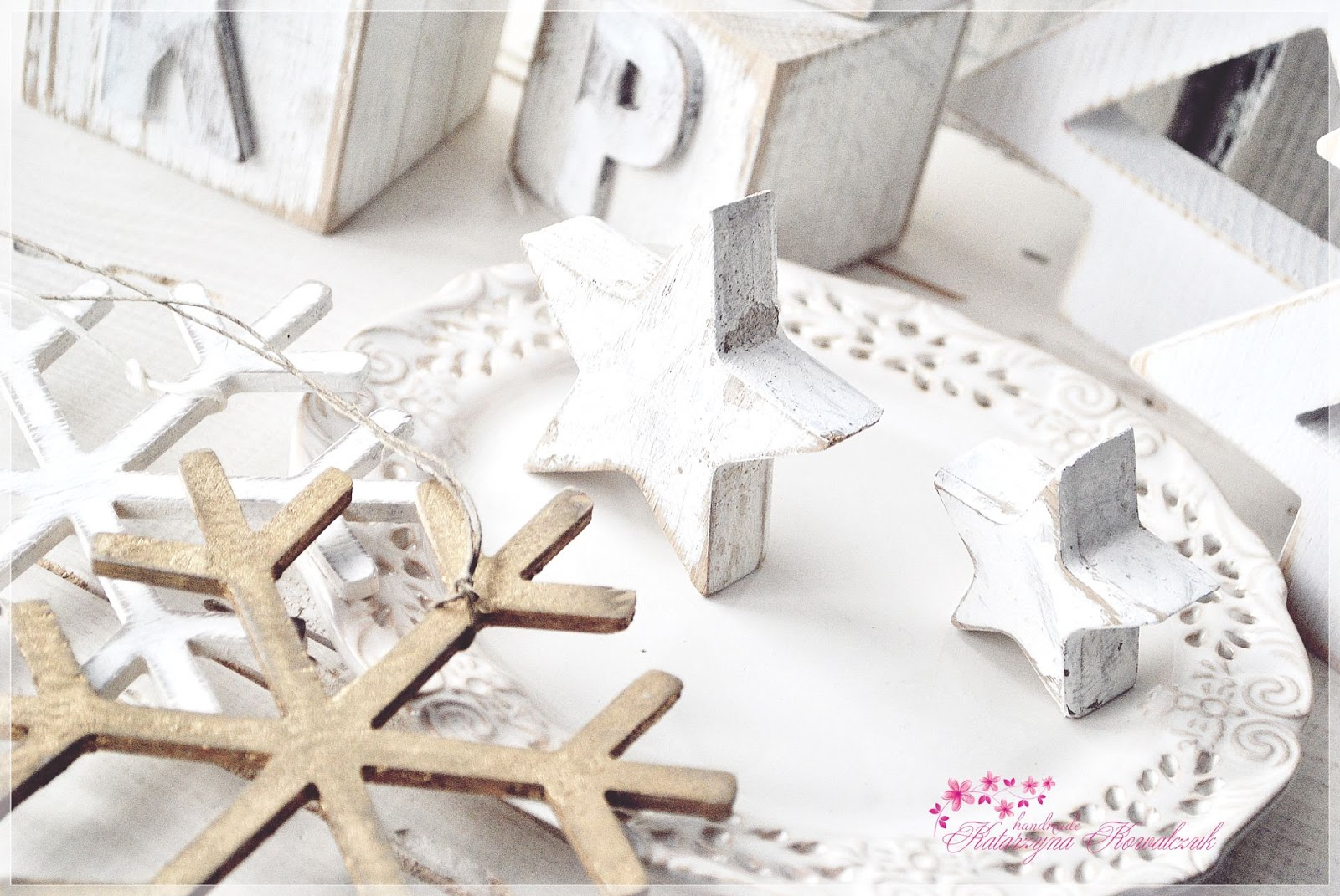 elementy drewniane dekoracyjne shabby chic święta boże narodzenie