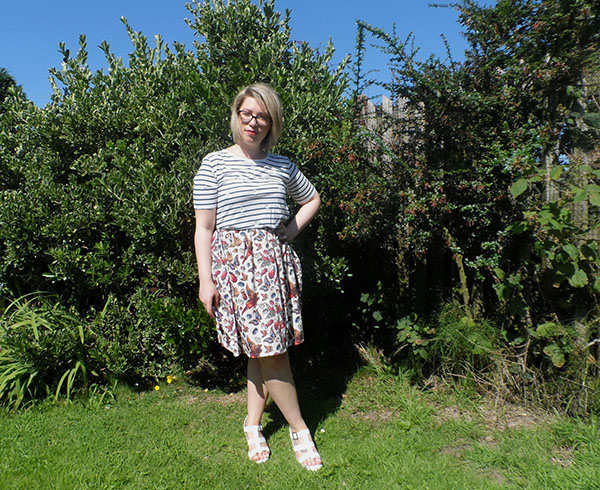 New Look Stripe Breton Top; ASOS Full Skirt; New Look White Sandals