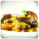 Paella de Setas y Foie
