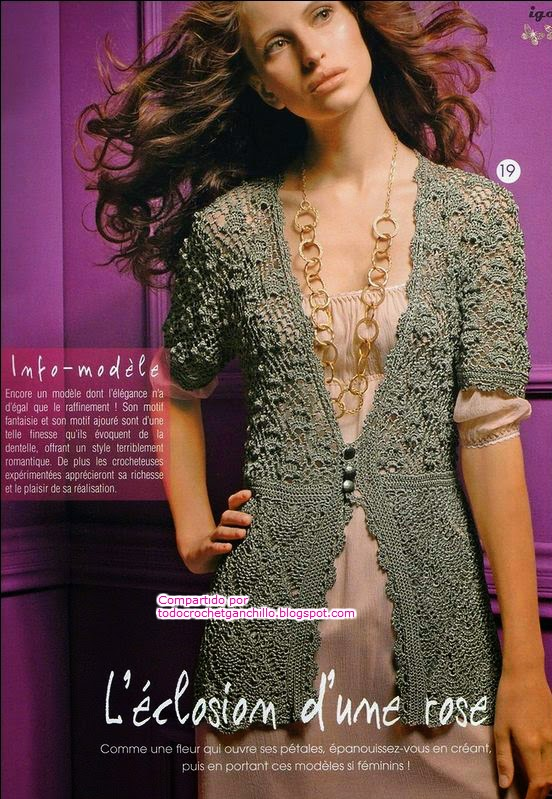 Chaqueta con hermoso diseño crochet