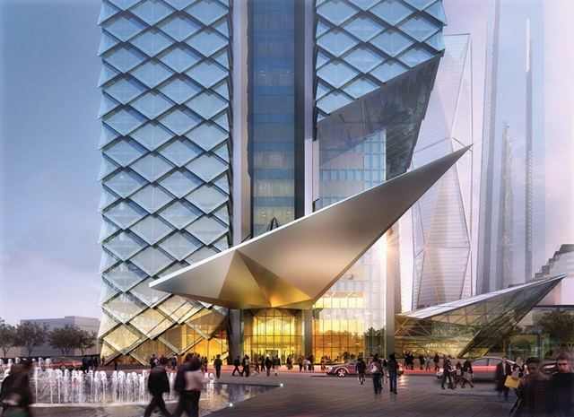 Rendering of entrance of Dancing Dragons by Adrian Smith + Gordon Gill Architecture along with pedestrians in the streets