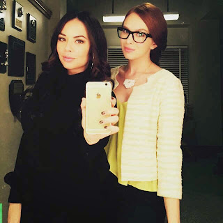 PLL BTS Janel Parrish and Elizabeth McLaughlin