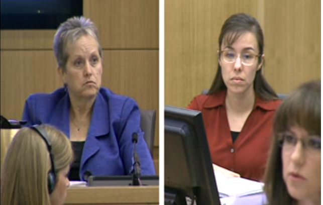 Alyce LaViolette and Jodi Arias in court on April 4, 2013