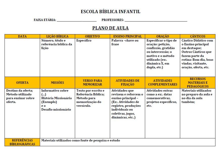 Favoritos Taty Amaral Ministério Infantil: MODELO DE PLANO DE AULA PARA  YZ94