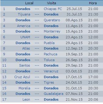 Calendario Dorados Culiacán Apertura 2015 Futbol Mexicano