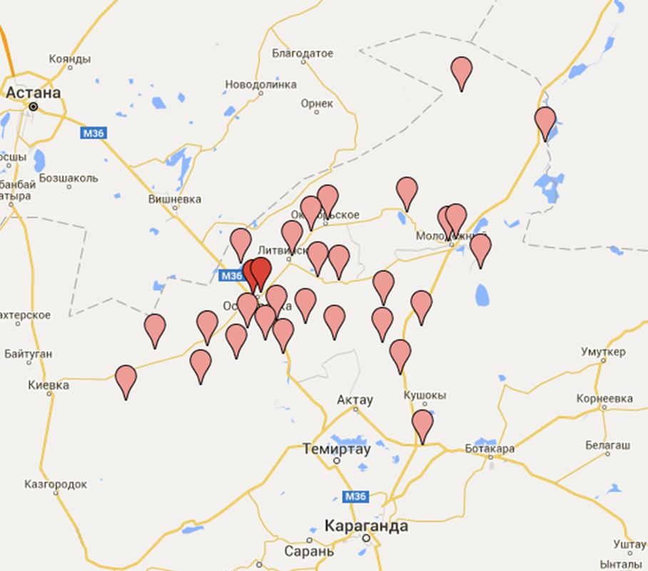 Карта библиотек Осакаровской ЦБС