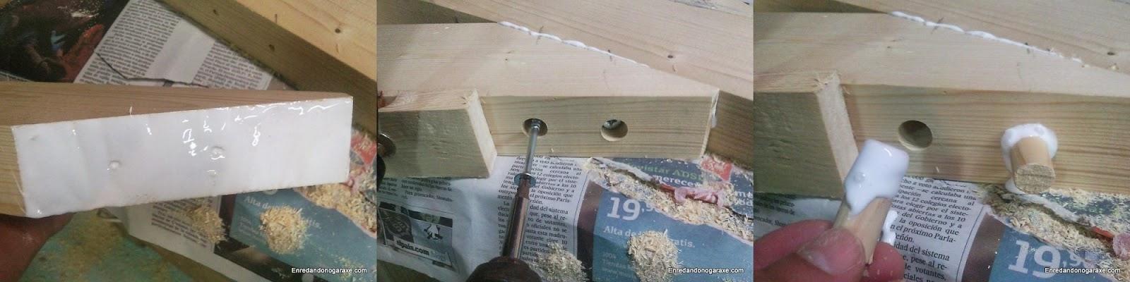 Encolando y atornillando refuerzo al soporte de la valla de madera. Enredandonogaraxe.com