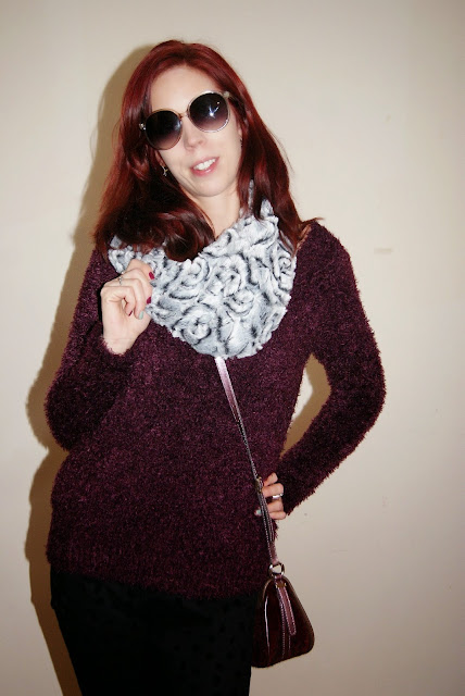 My Style!: Purple Sweater and Polka Dot Trousers, H&M, Infinty Faux Fur Scarf, Guess Purse, Joseph Nogucci Elephant Memory Stone Bracelets, fashion, style, styletips, winter, winterstyle, shopping, warm, cozy, soft, outfit, OOTD, toronto, ontario, canada, the purple scarf, melanieps, accessories, the national women's show