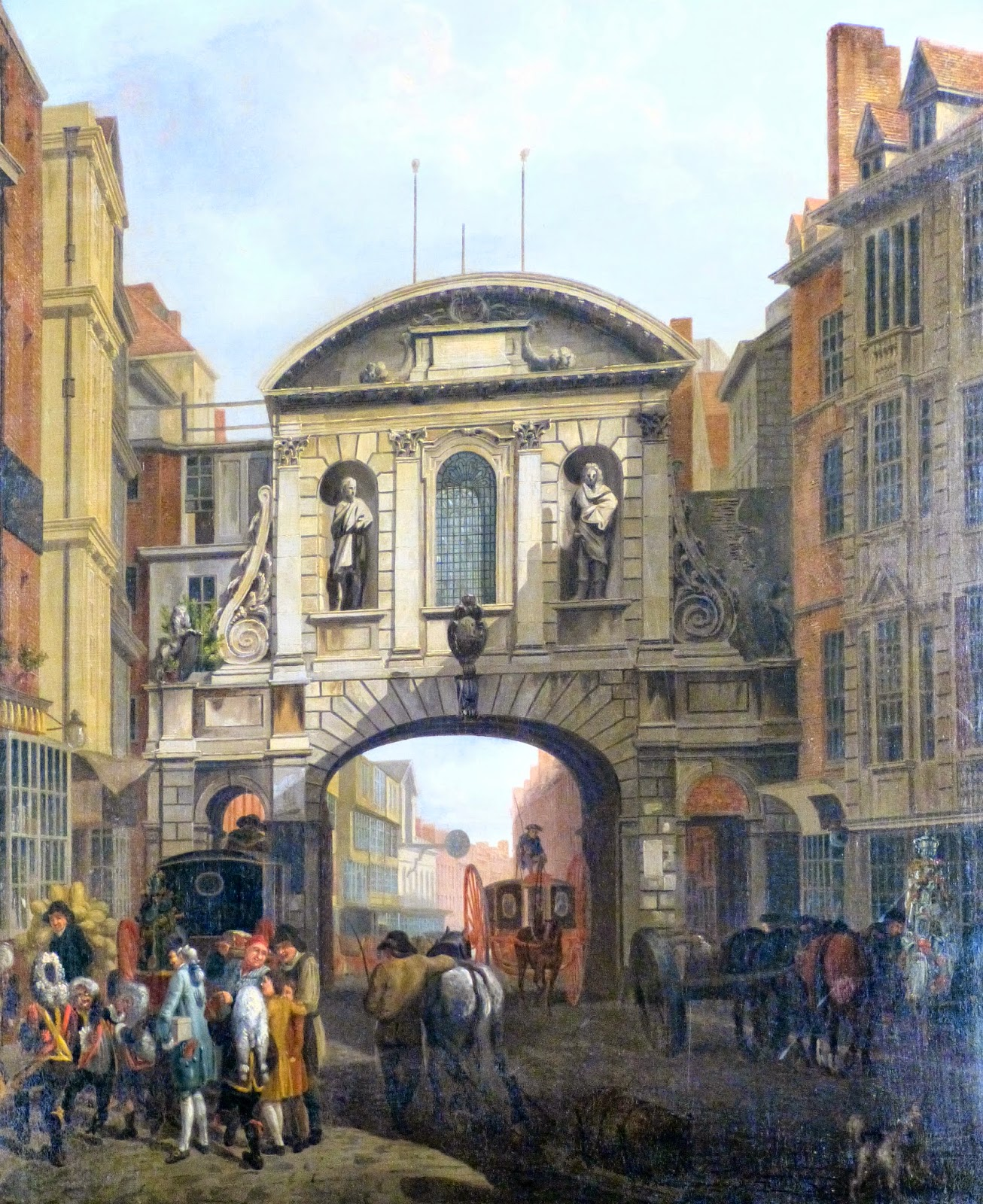 Detail from View of Temple Bar attributed to John Collett  The premises of Child & Co are immediately to the left   of Temple Bar