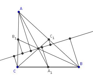 Baricentro con línea y perpendiculares